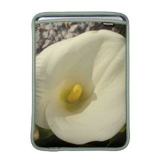 Single Cream White Calla Lily With Garden Backgrou MacBook Air Sleeves