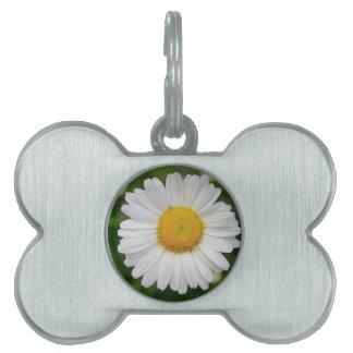 Single Daisy Flower Pet Name Tag