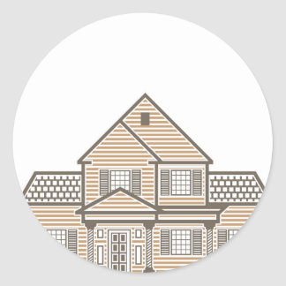 Single family house vector classic round sticker