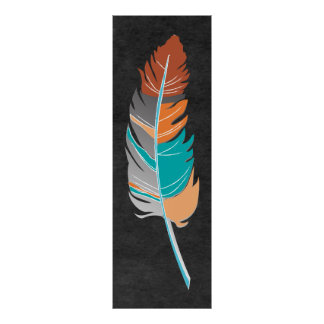 Single Feather  - Autumn Colors on Chalkboard Poster
