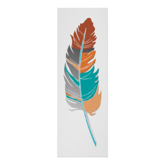 Single Feather  - Autumn Colors Poster