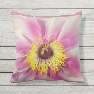 Single Flower Floral Design  Blush Pink Background Outdoor Cushion