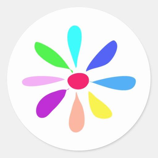 Single Flower Round Stickers