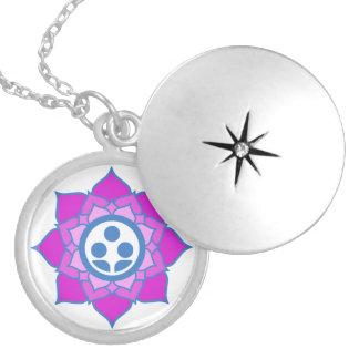 Single Flower Zen Center Logo Round Locket Necklace