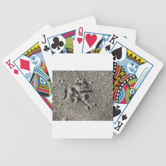 Single footprint of seagull bird on beach sand bicycle playing cards