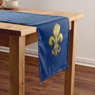 Single Gold Fleur De Lis on Blue Short Table Runner
