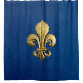 Single Gold Fleur De Lis on Blue Shower Curtain