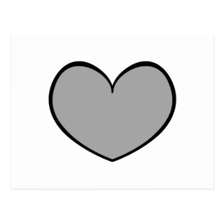 Single Gray Heart Postcard 0001