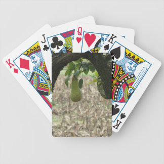Single green pear hanging on the tree bicycle playing cards