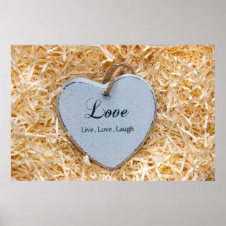 single grey wooden heart in a love nest print