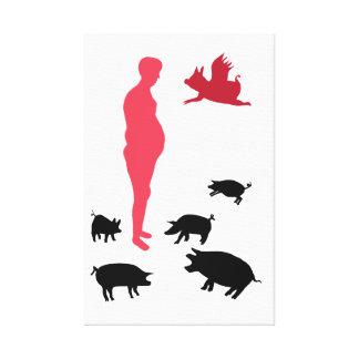 Single, Happy Meal Be Vegeterian ,The Farm Canvas Print