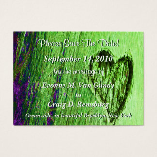 Single Heart Save The Date In Light Green Business Card