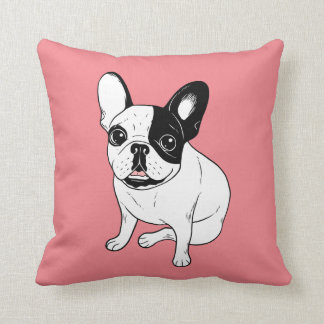 Single Hooded Brindle Pied Frenchie Throw Pillow