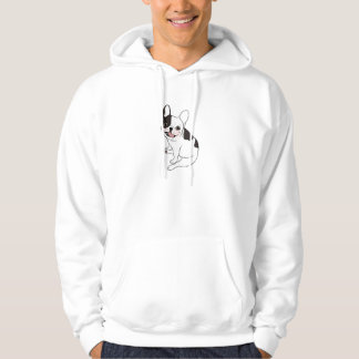 Single hooded pied Frenchie is excited for the pla Hoodie