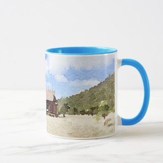 Single House Country Living Watercolor Mug