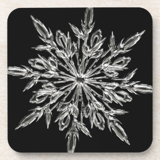 Single Ice Crystal on Black Beverage Coasters