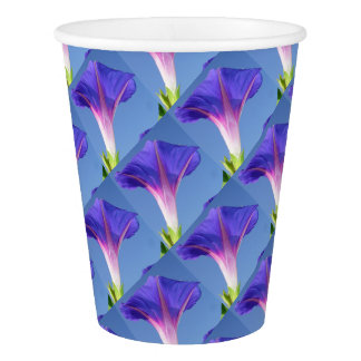 Single Ipomoea Purpurea Against Blue Sky Paper Cup