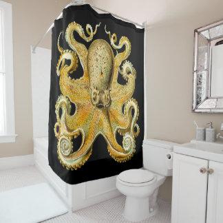 Single Large Gold Squid Kraken Design Shower Curtain