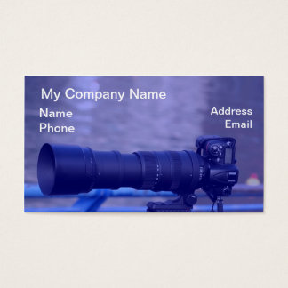 Single Lens Reflex Camera with Long Telephoto Lens Business Card
