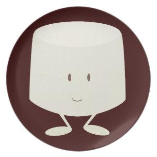 Single marshmallow character smiling dinner plate