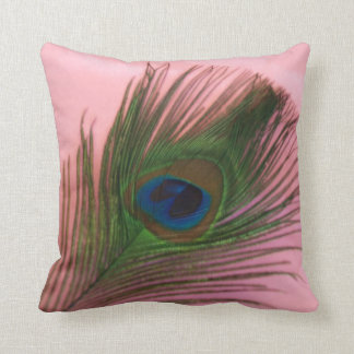 Single Peacock Feather with Pink Still Life Throw Cushion