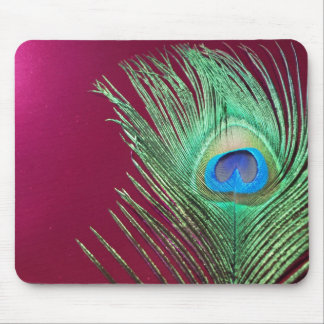 Single Peacock with Dark Pink Products Mouse Pad