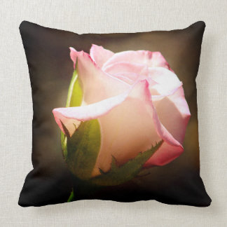 Single Pink Rose Accent Pillow
