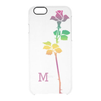 Single Pink Rose Custom Monogrammed Clear iPhone 6/6S Case