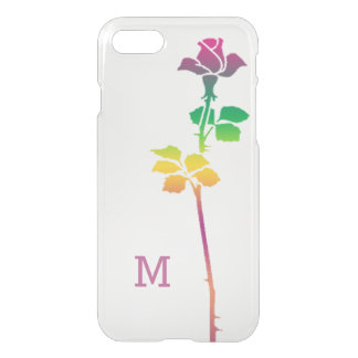Single Pink Rose Custom Monogrammed iPhone 7 Case