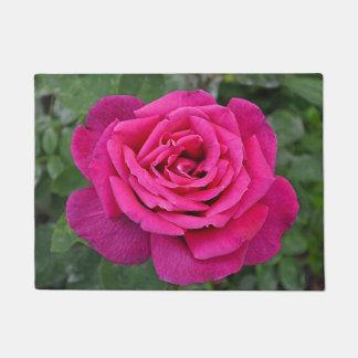 Single pink rose doormat
