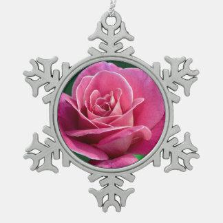 Single pink rose print christmas ornament