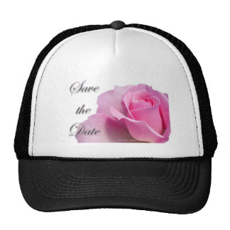 Single Pink Rose Save the Date Trucker Hats