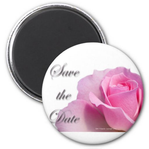 Single Pink Rose Save the Date Refrigerator Magnets