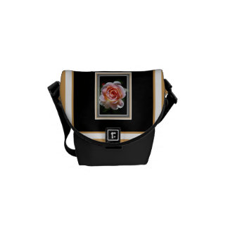 Single Pink Rose Small Messenger Bag by bubbleblue