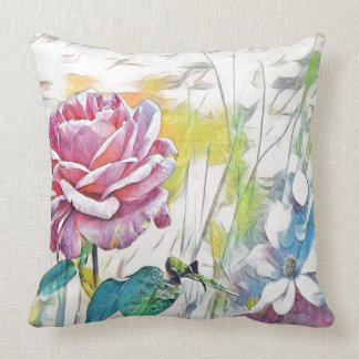 single pink rose throw pillow