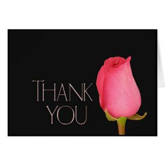 Single pink rosebud thank you card