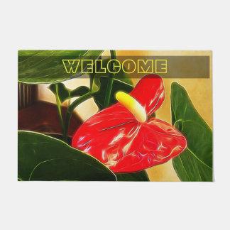 Single Red Anthurium Flower Doormat