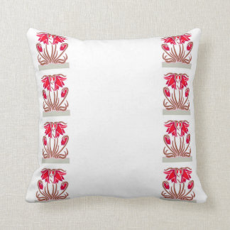 Single Red Floral Repeated Design Throw Cushion. Throw Pillow