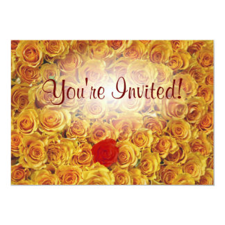 Single Red in Yellow Bed Roses 13 Cm X 18 Cm Invitation Card