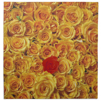 Single Red in Yellow Bed Roses Napkins