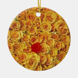 Single Red in Yellow Bed Roses Round Ceramic Decoration