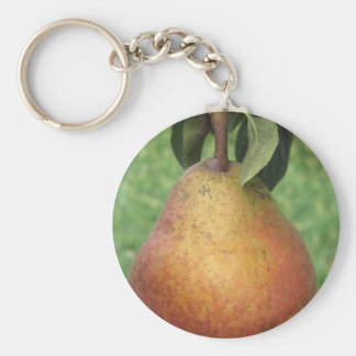 Single red pear hanging on the tree key ring