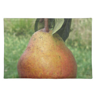 Single red pear hanging on the tree placemat
