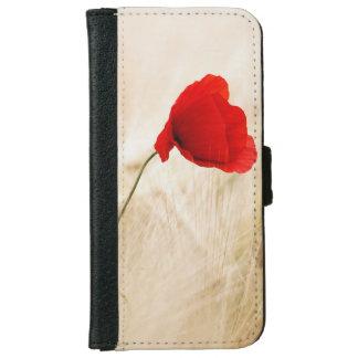 Single Red Poppy in a Grassy Field iPhone 6 Wallet Case