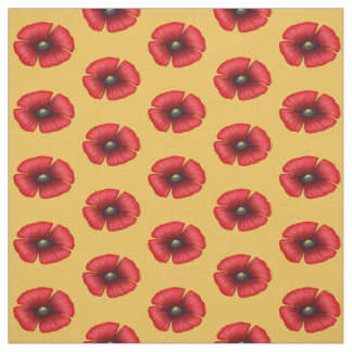 Single red poppy on yellow fabric
