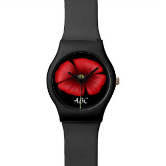 Single Red Poppy with Initials Watch