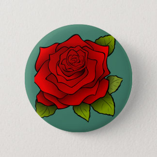 Single Red Rose 6 Cm Round Badge