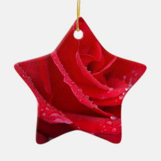Single red rose blossoms christmas ornament