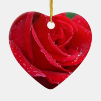 Single red rose blossoms christmas ornaments