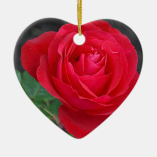 Single red rose ceramic heart decoration